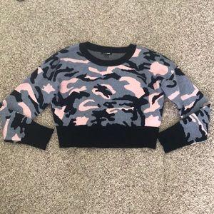 Fashion Nova Crop Top Camo Sweater